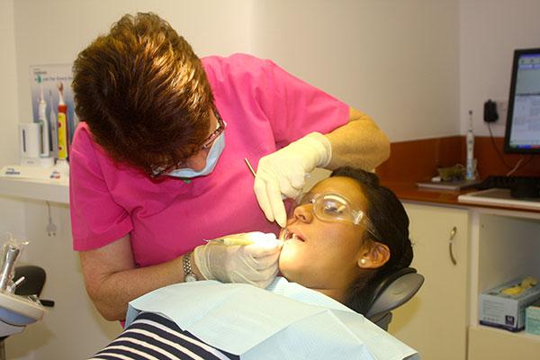 Sarah the hygienist at work
